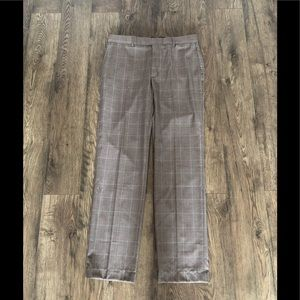 LANDS' END tailored tan plaid trousers